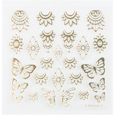 Nail Stickers Blooming Butterfly Gold