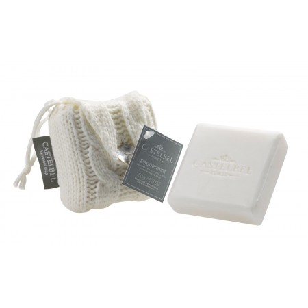 Castelbel Peppermint Soap in white knitted bag 150g